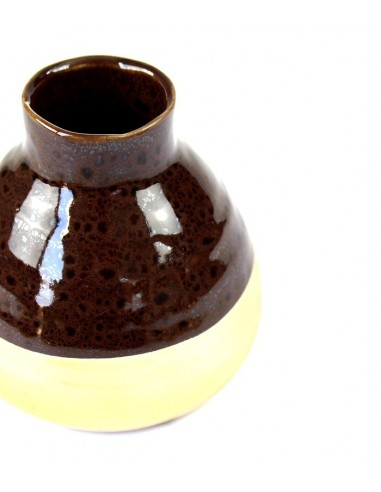 Vaso in ceramica S bicolor marrone e oro