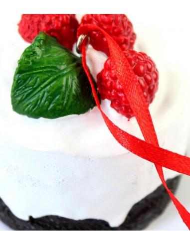 Cupcake da appendere con lamponi